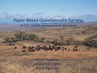 Paper-Based Questionnaire Surveys in U.S. ranch-management literature