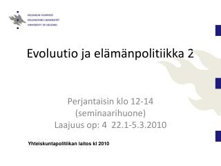Evoluutio ja el m npolitiikka 2