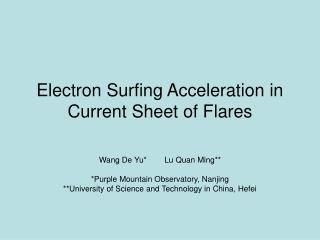 Electron Surfing Acceleration in Current Sheet of Flares
