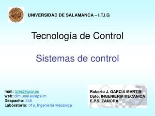 Tecnolog a de Control  Sistemas de control