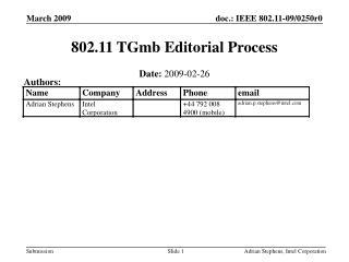 802.11 TGmb Editorial Process