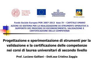 Fondo Sociale Europeo POR 2007-2013  Asse IV   CAPITALE UMANO  AZIONI DI SISTEMA PER LA REALIZZAZIONE DI STRUMENTI OPERA