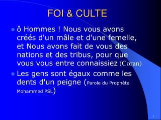 FOI  CULTE