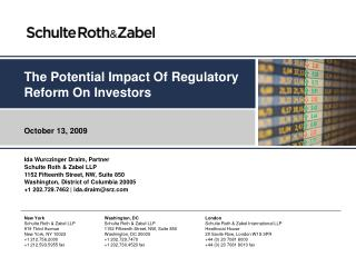 The Potential Impact Of Regulatory Reform On Investors