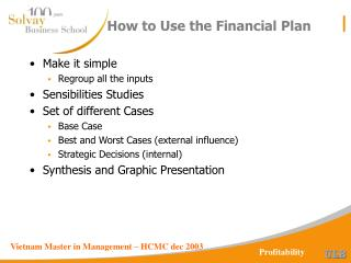 How to Use the Financial Plan