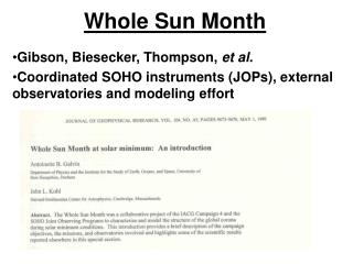 Whole Sun Month