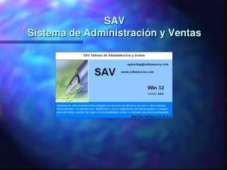 SAV Sistema de Administraci n y Ventas