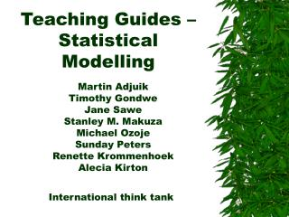 Teaching Guides   Statistical Modelling