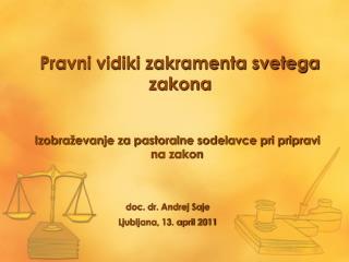 Pravni vidiki zakramenta svetega zakona