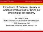 Importance of Financial Literacy in America: Implications for China-an emerging global economy