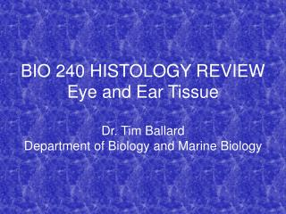 BIO 240 HISTOLOGY REVIEW Eye and Ear Tissue