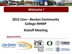2012 Linn Benton Community College NHMP  Kickoff Meeting