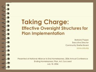 Taking Charge: Effective Oversight Structures for Plan Implementation