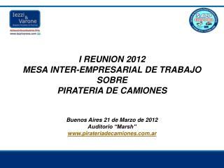 I REUNION 2012 MESA INTER-EMPRESARIAL DE TRABAJO  SOBRE  PIRATERIA DE CAMIONES    Buenos Aires 21 de Marzo de 2012 Audit