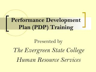 Performance Development Plan PDP Training