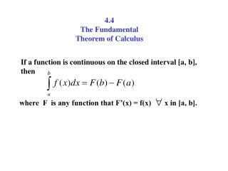 4.4 The Fundamental Theorem of Calculus