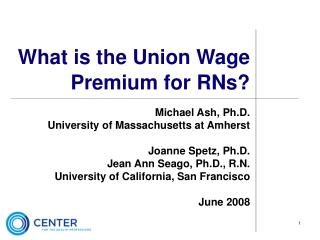 What is the Union Wage Premium for RNs