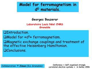 Model for ferromagnetism in  d0 materials.