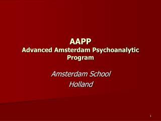 AAPP Advanced Amsterdam Psychoanalytic Program