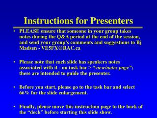 Instructions for Presenters