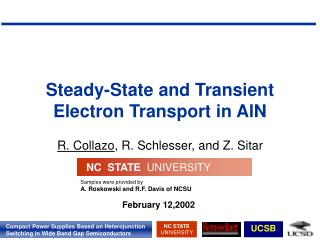 Steady-State and Transient Electron Transport in AlN