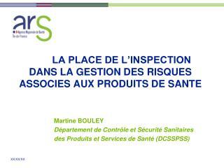 LA PLACE DE L INSPECTION  DANS LA GESTION DES RISQUES  ASSOCIES AUX PRODUITS DE SANTE