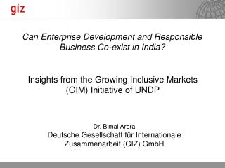 Insights from the Growing Inclusive Markets GIM Initiative of UNDP