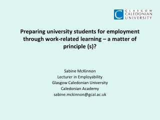 Preparing university students for employment through work-related learning   a matter of principle s