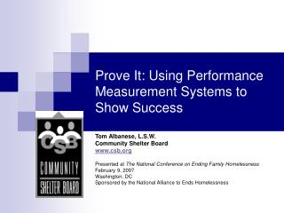 Prove It: Using Performance Measurement Systems to Show Success