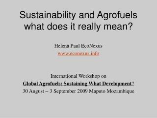 Sustainability and Agrofuels what does it really mean