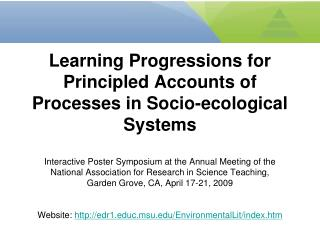 Learning Progressions for Principled Accounts of Processes in Socio-ecological Systems  Interactive Poster Symposium at