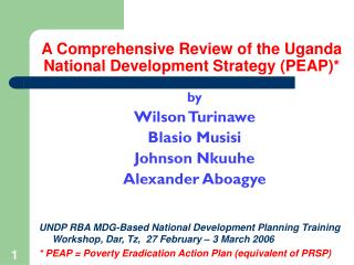 A Comprehensive Review of the Uganda National Development ...