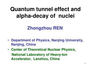 Quantum tunnel effect and alpha-decay of  nuclei