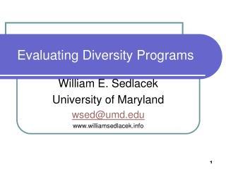 Evaluating Diversity Programs