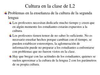 Cultura en la clase de L2