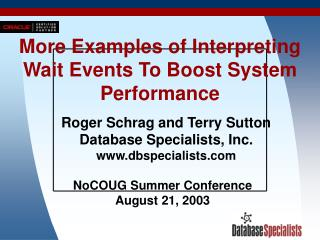 More Examples of Interpreting Wait Events To Boost System Performance