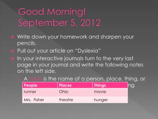 Good Morning September 5, 2012