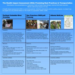 The Health Impact Assessment HIA: Promising Best Practices in Transportation Eloisa Raynault  eloisa.raynaultapha  Trans
