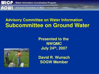 Advisory Committee on Water Information Subcommittee on Ground Water