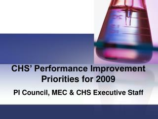 CHS  Performance Improvement Priorities for 2009