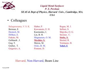 Liquid Metal Surfaces P. S. Pershan SEAS  Dept of Physics, Harvard  Univ., Cambridge, MA, USA