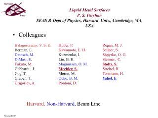 Liquid Metal Surfaces P. S. Pershan SEAS  Dept of Physics, Harvard  Univ., Cambridge, MA, USA