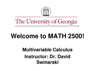 Welcome to MATH 2500