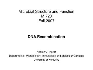 Microbial Structure and Function