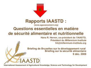 Rapports IAASTD :   agassessment Questions essentielles en mati re de s curit  alimentaire et nutritionnelle