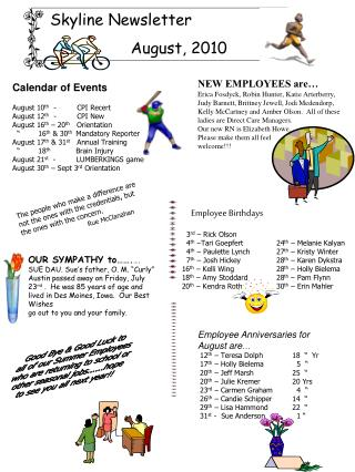 Skyline Newsletter   August, 2010