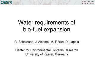 Water requirements of  bio-fuel expansion