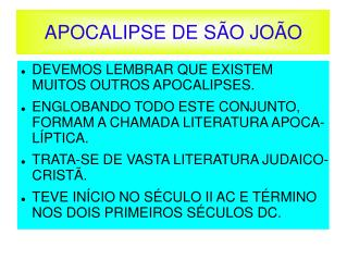 APOCALIPSE DE S O JO O