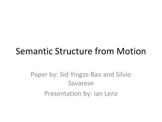 Semantic Structure from Motion