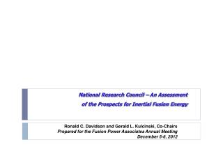 National Research Council   An Assessment  of the Prospects for Inertial Fusion Energy